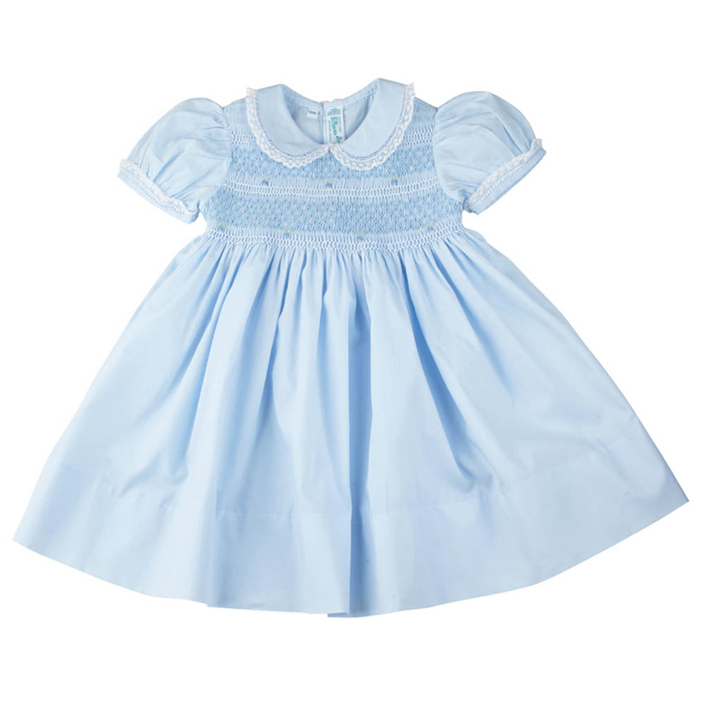 Girls Blue Smocked Yoke Dress with Lace Trim