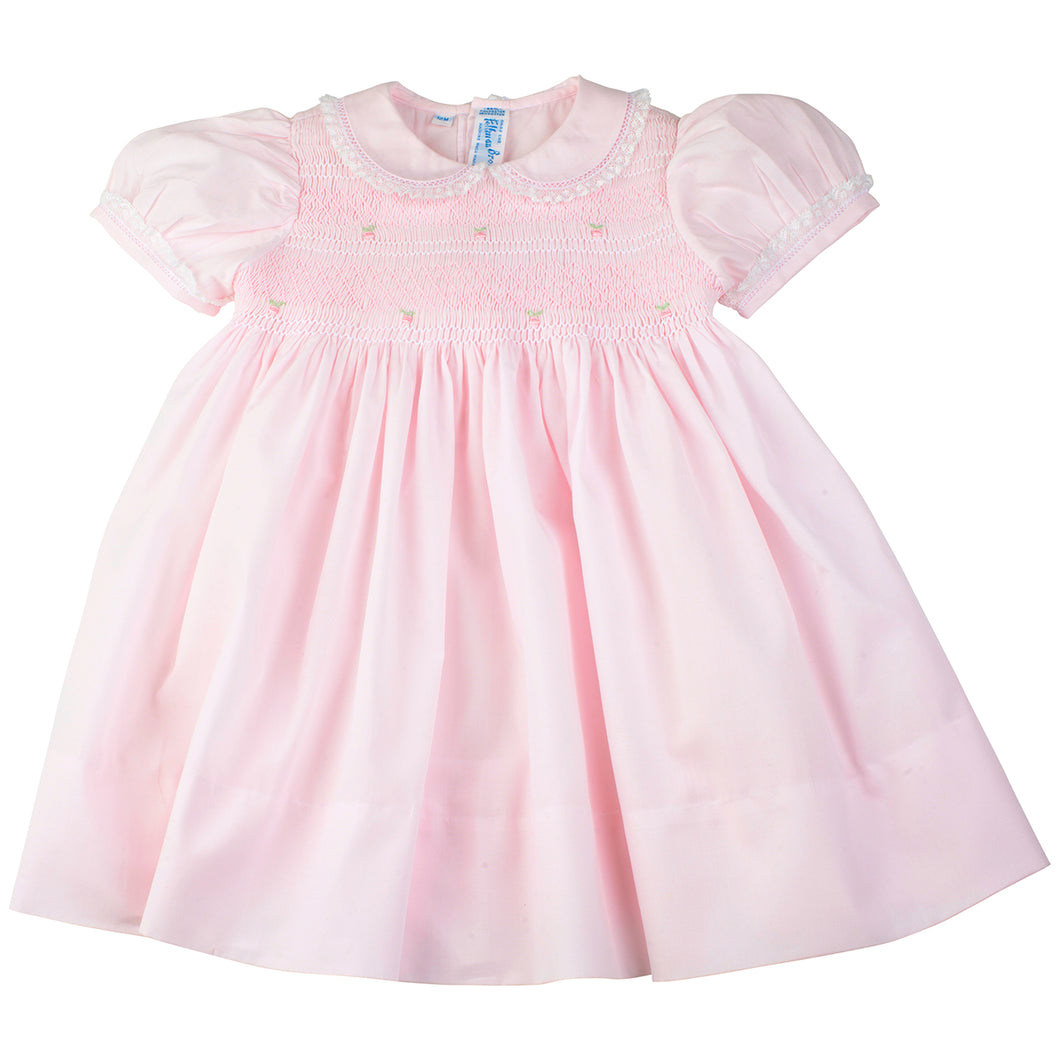Girls Pink Smocked Yoke Dress with Lace Trim