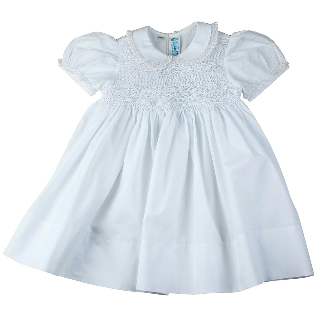 Girls White Smocked Yoke Dress with Lace Trim