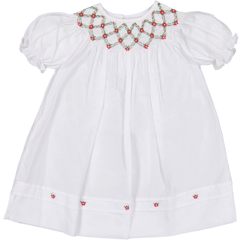 Red, Green, & White Smocked Holiday Float Dress