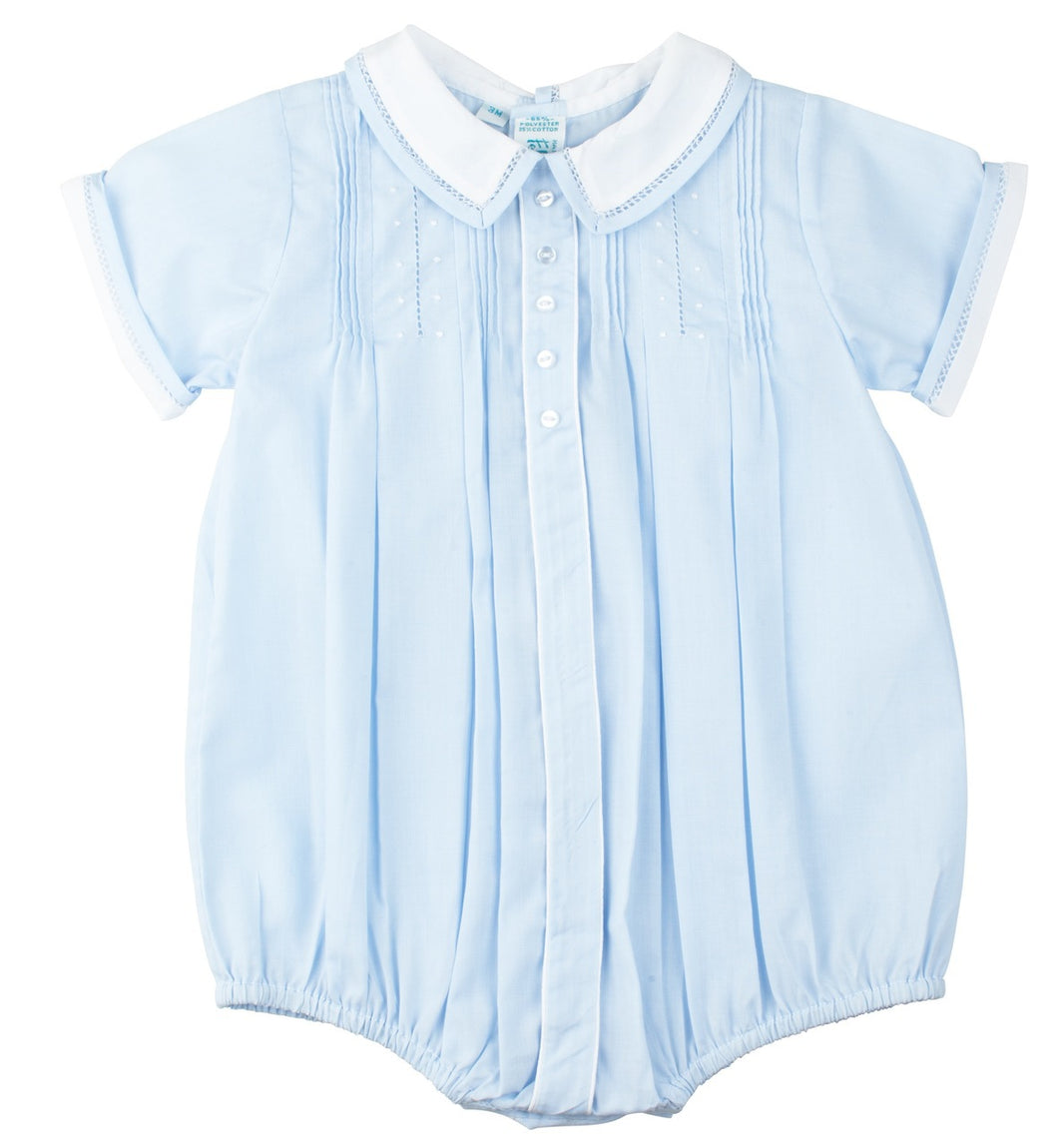 Blue Tucked & Embroidered Boys Romper