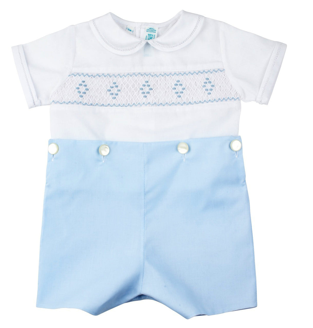 Blue & White Boys Smocked Button-On Short Set