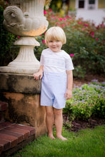 Load image into Gallery viewer, Blue & White Boys Smocked Button-On Short Set