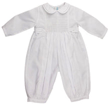 Load image into Gallery viewer, Boys Infant White Romper with White Smocking