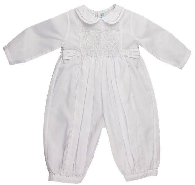 Boys Infant White Romper with White Smocking