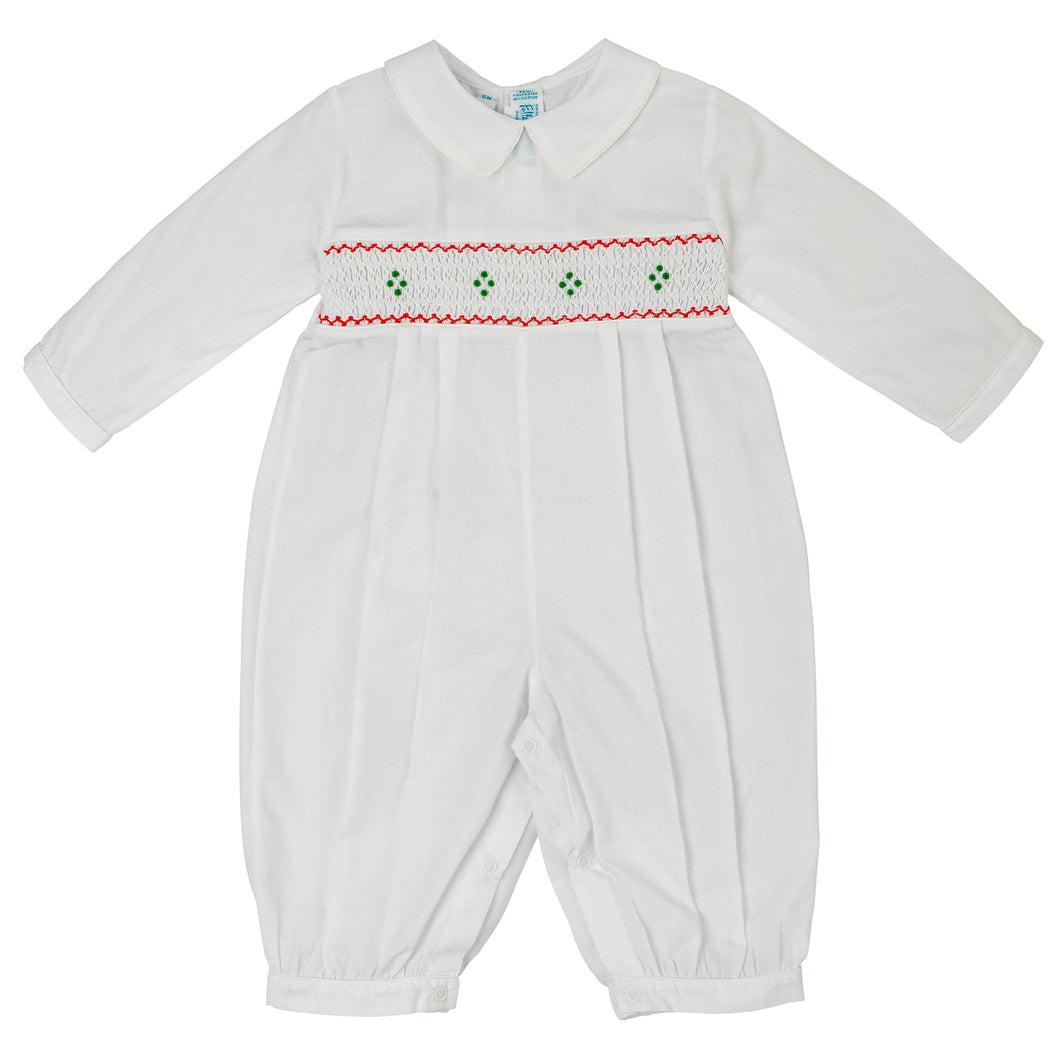 White, Red, & Green, Boys Holiday Smocked Longall