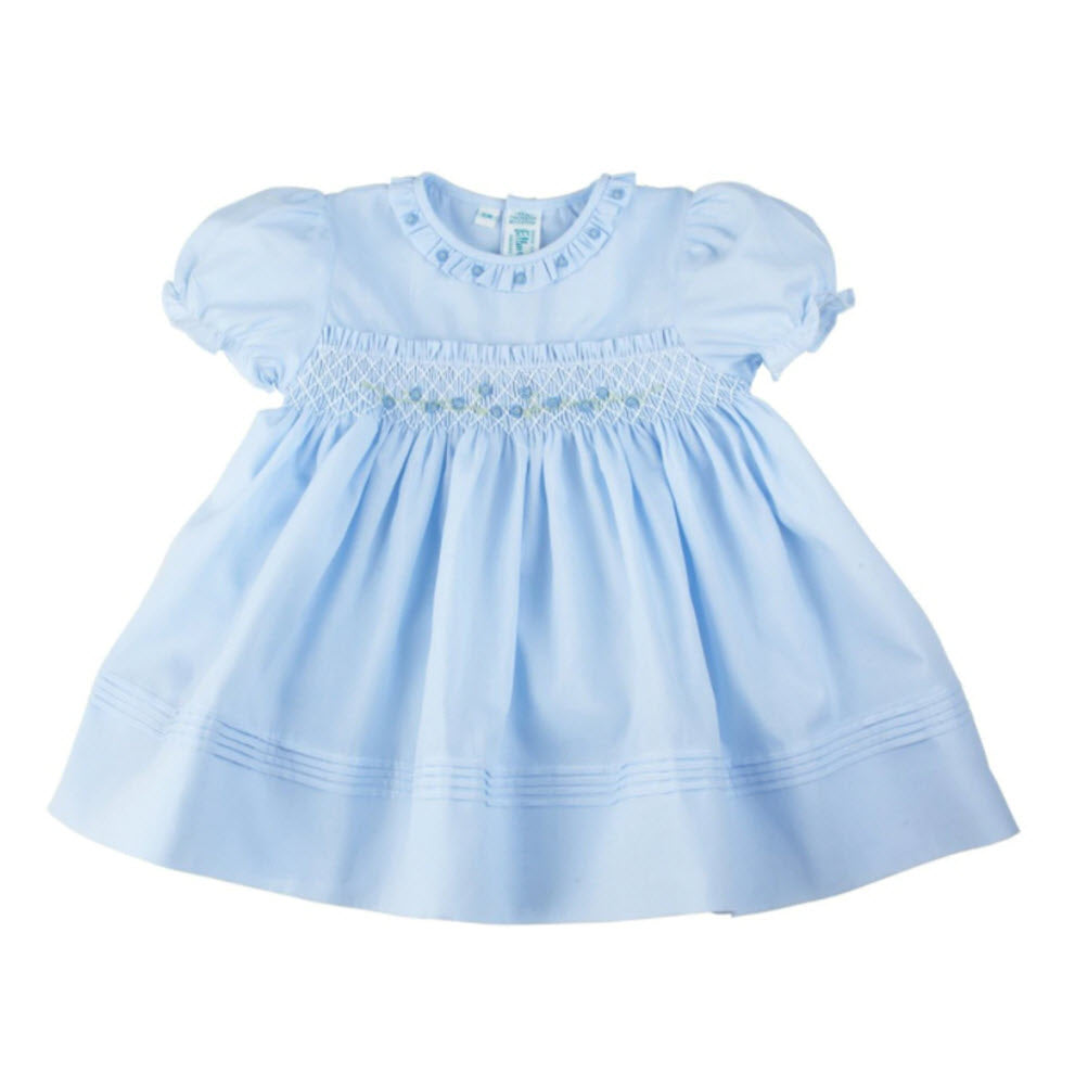 Powder Blue Rose Garden Smocked Dress