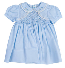 Load image into Gallery viewer, Baby Blue Smocked Bolero Dress with Lace Trim