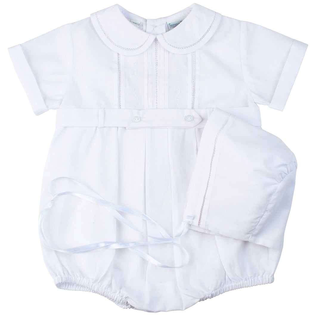Boys White Dressy Belted Creeper with Hat