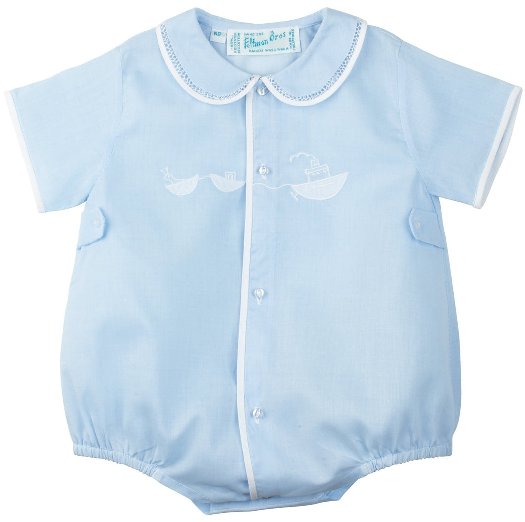 Blue & White  Newborn Tug Boat Boys Romper