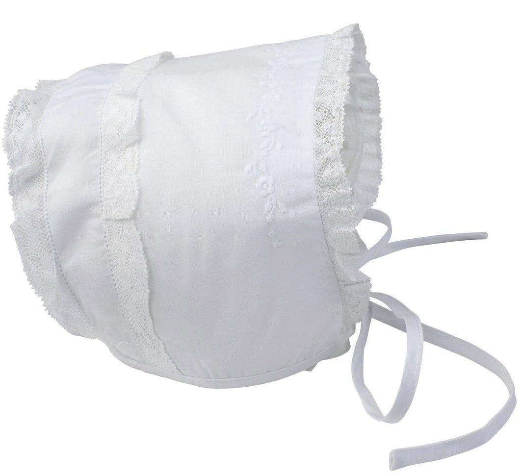 Girls Embroidered & Lace Trimmed Newborn Bonnet