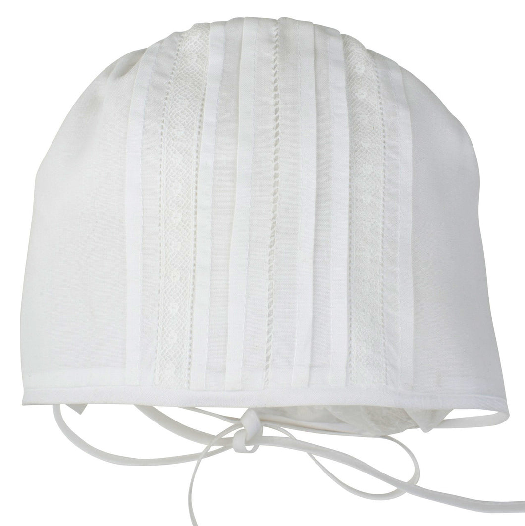 Unisex White Newborn Cap with Lace Inserts
