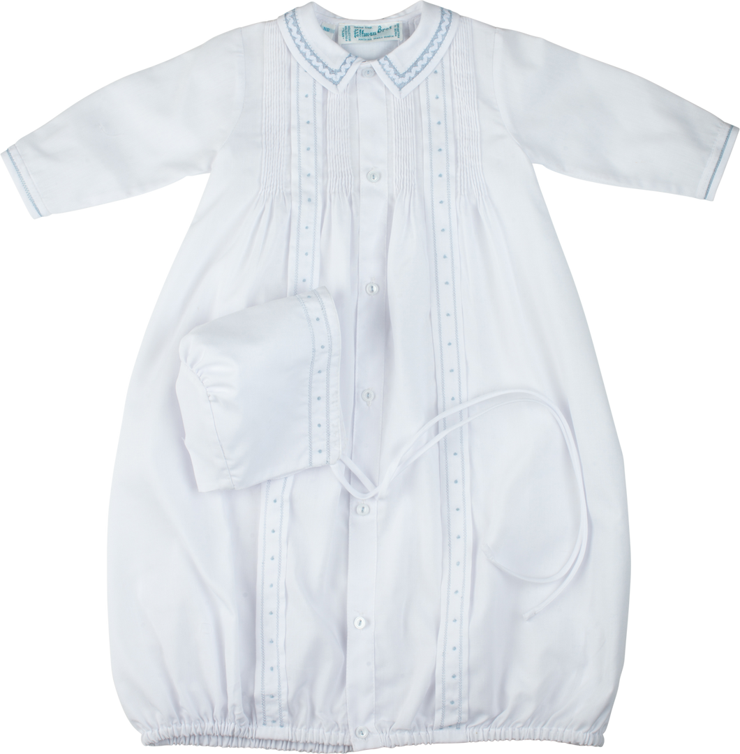 Boys White & Blue Take-Me-Home Gown & Hat