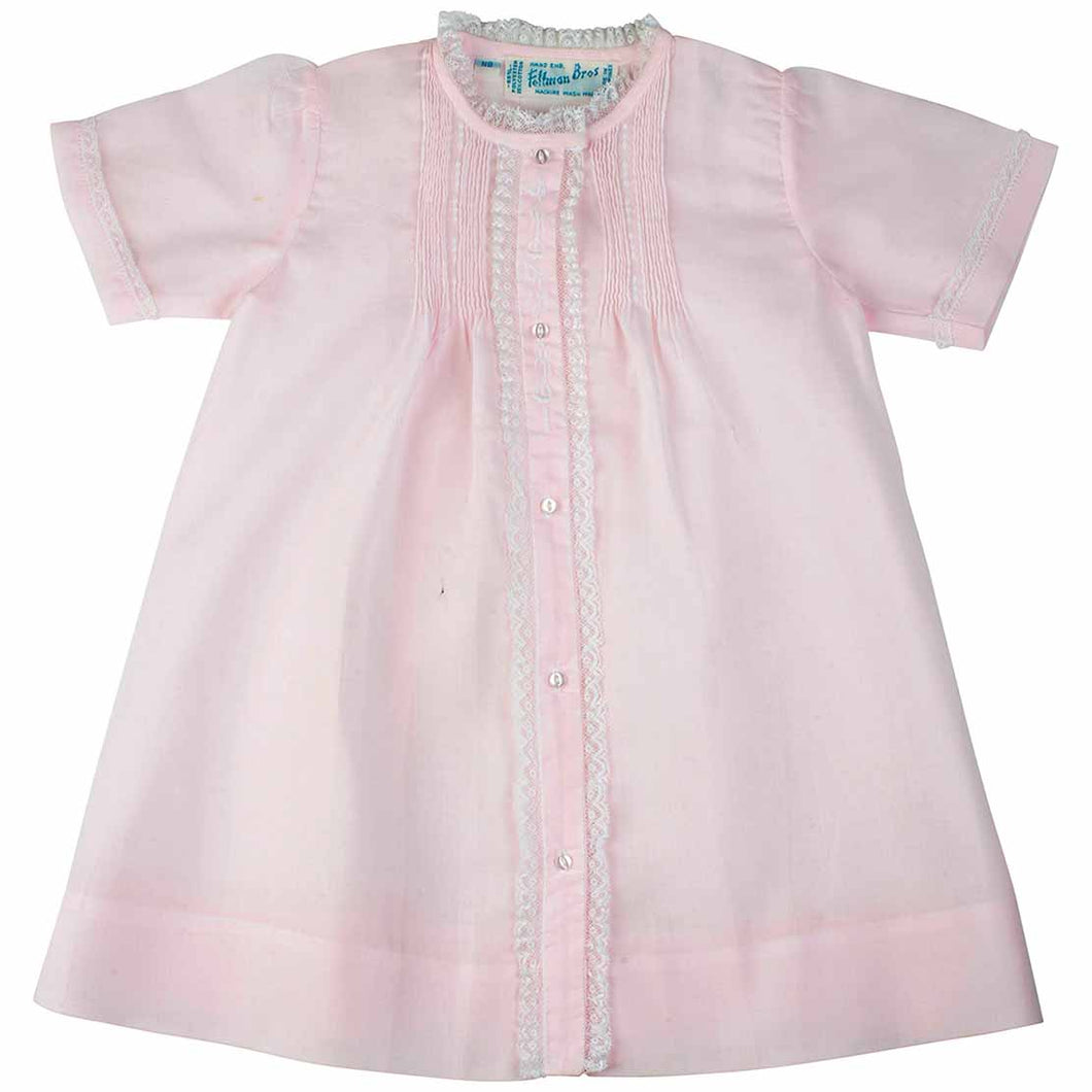 Girls Pink Newborn Front Lace Trimmed Tucked Daygown