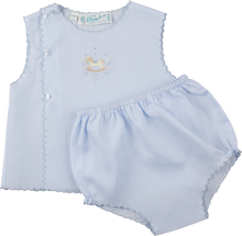 Load image into Gallery viewer, Boys Embroidered Rocking Horse Blue Diaper Set