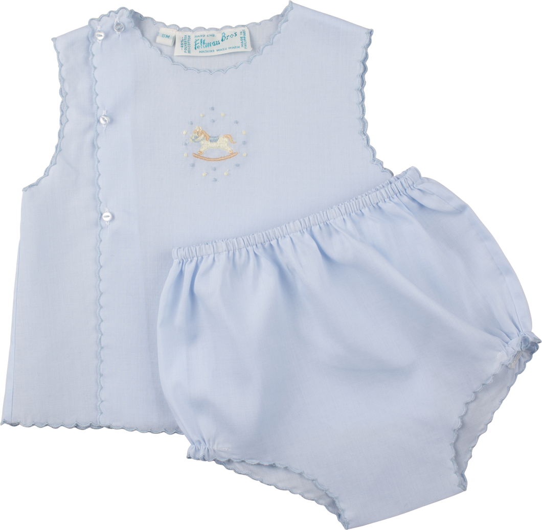 Boys Embroidered Rocking Horse Blue Diaper Set