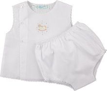 Load image into Gallery viewer, Boys Embroidered Rocking Horse White Diaper Set