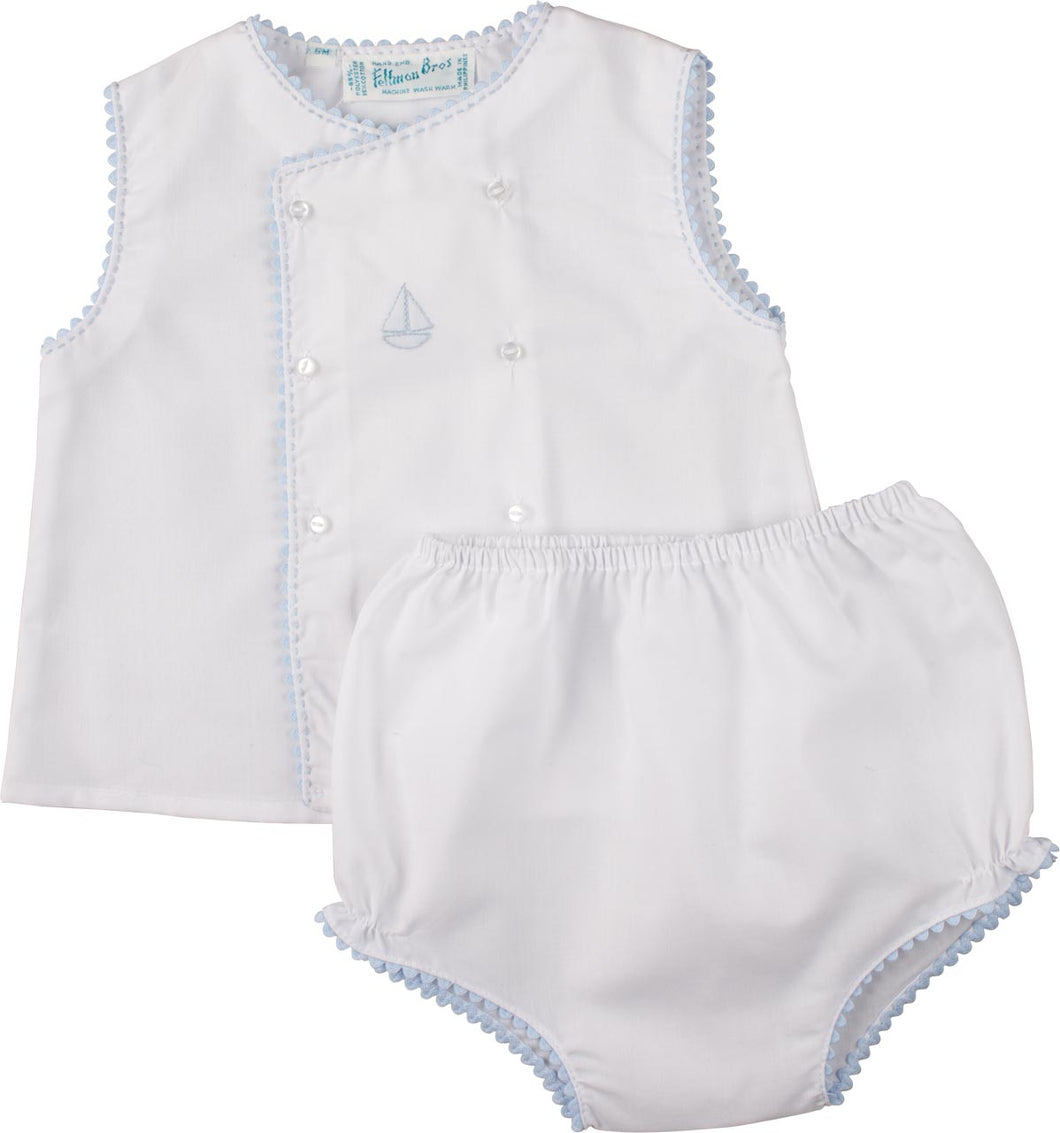 Boys Embroidered Sailboat Blue Diaper Set