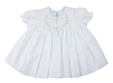 Load image into Gallery viewer, White Smocked Baby Dress with Embroidered Rosettes