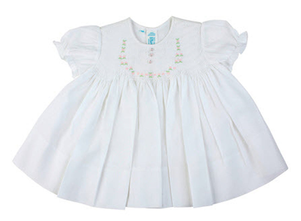 White Smocked Baby Dress with Embroidered Rosettes