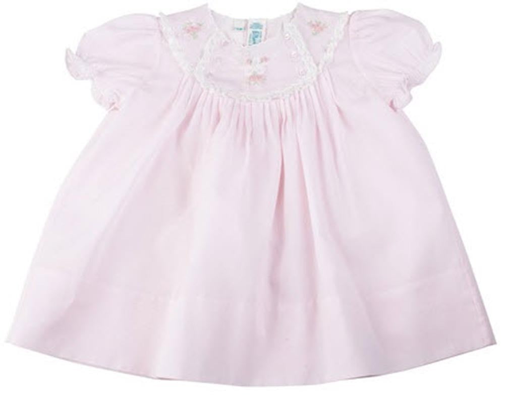 Lace Trimmed Embroidered Pink Baby Dress