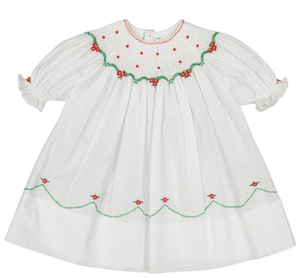 White, Red, & Green Smocked Christmas Dress