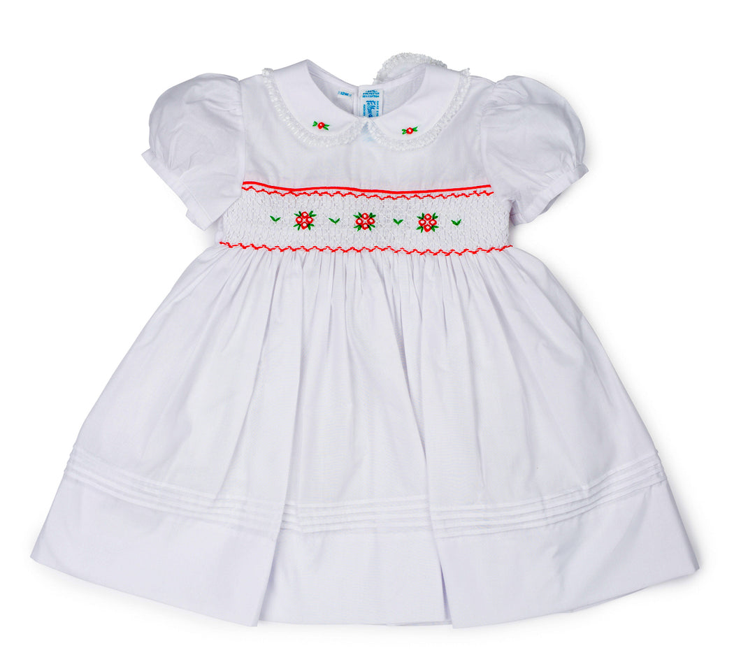 White, Red, & Green Smocked Short Sleeve Christmas Dress