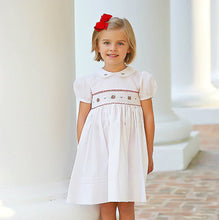 Load image into Gallery viewer, White, Red, & Green Smocked Short Sleeve Christmas Dress