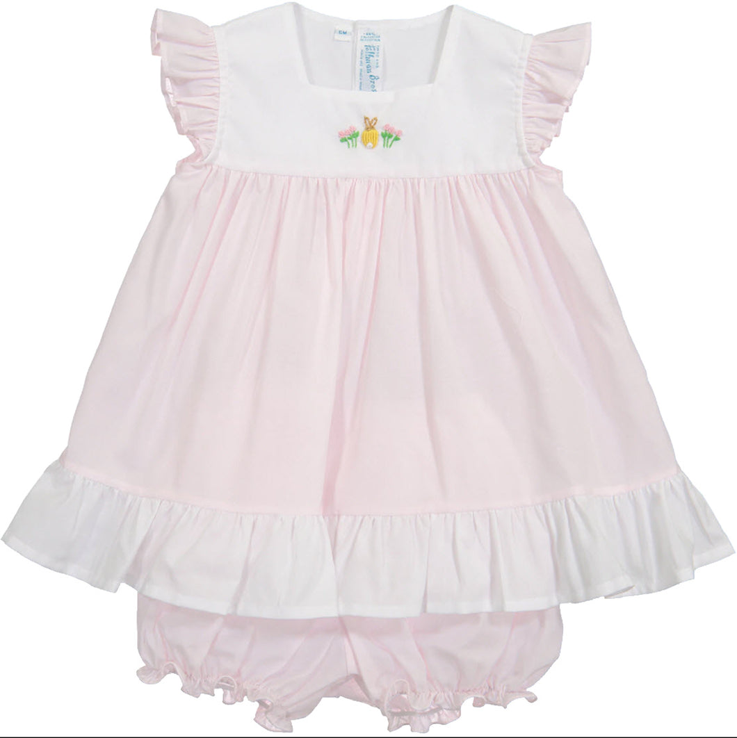 Embroidered Bunny Pink Angel Wing Dress