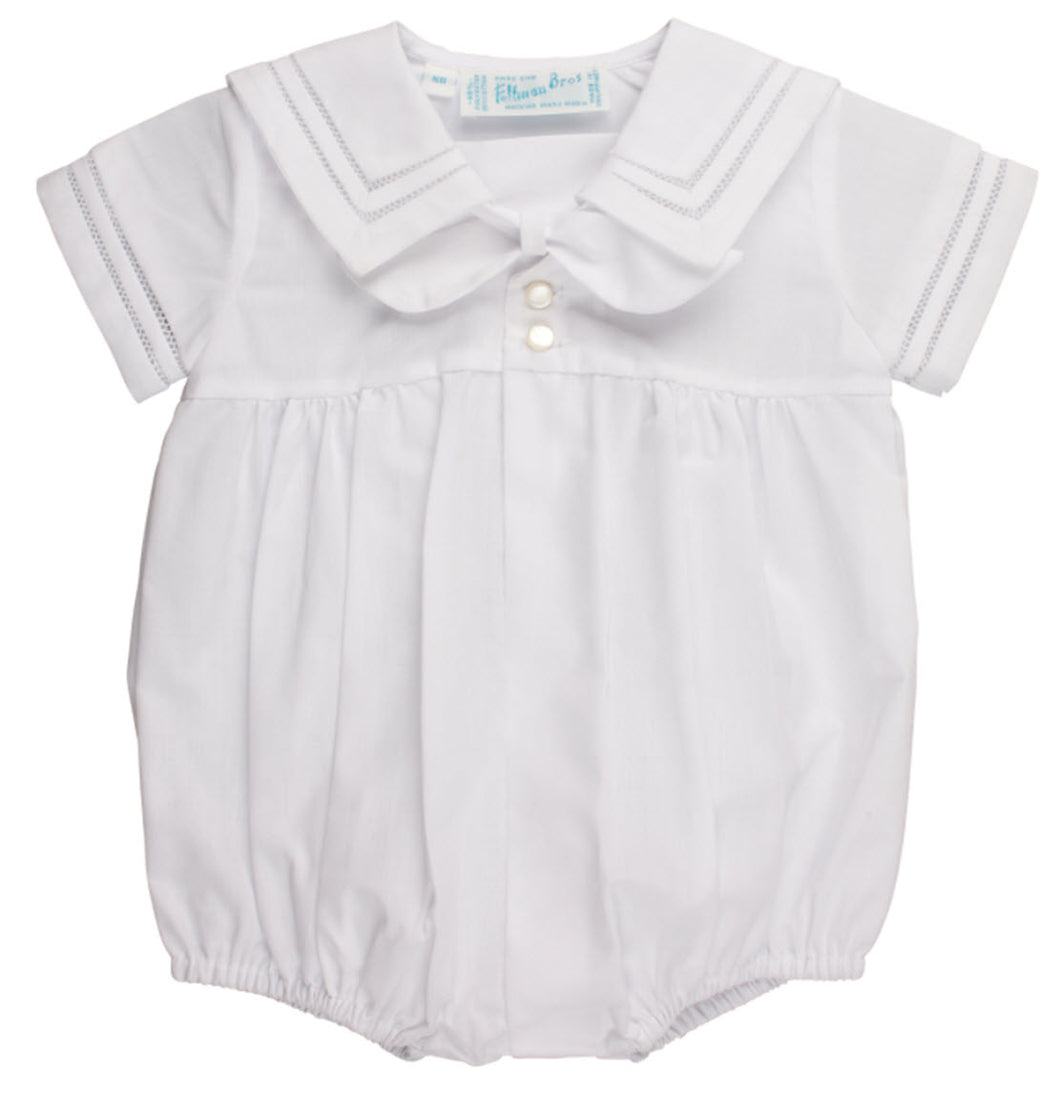 Newborn White Sailor Romper