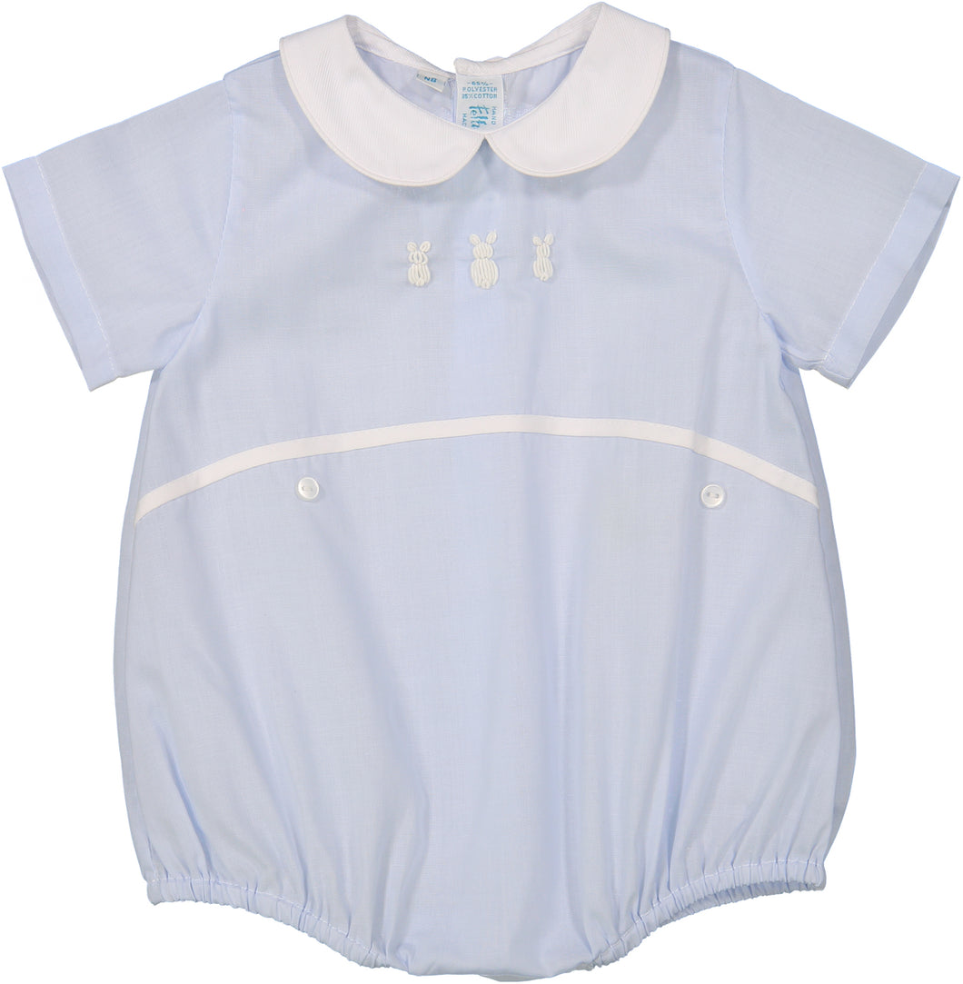 Baby Blue Boys Embroidered Bunny Creeper