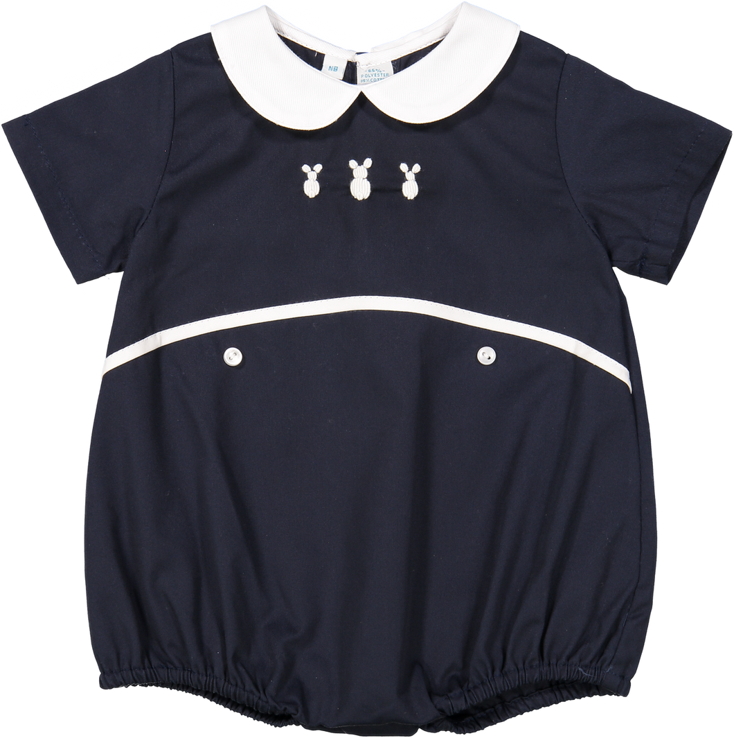 Navy Blue Boys Embroidered Bunny Creeper