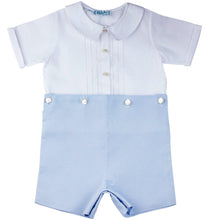 Load image into Gallery viewer, Boys Two Piece White & Blue Short Set