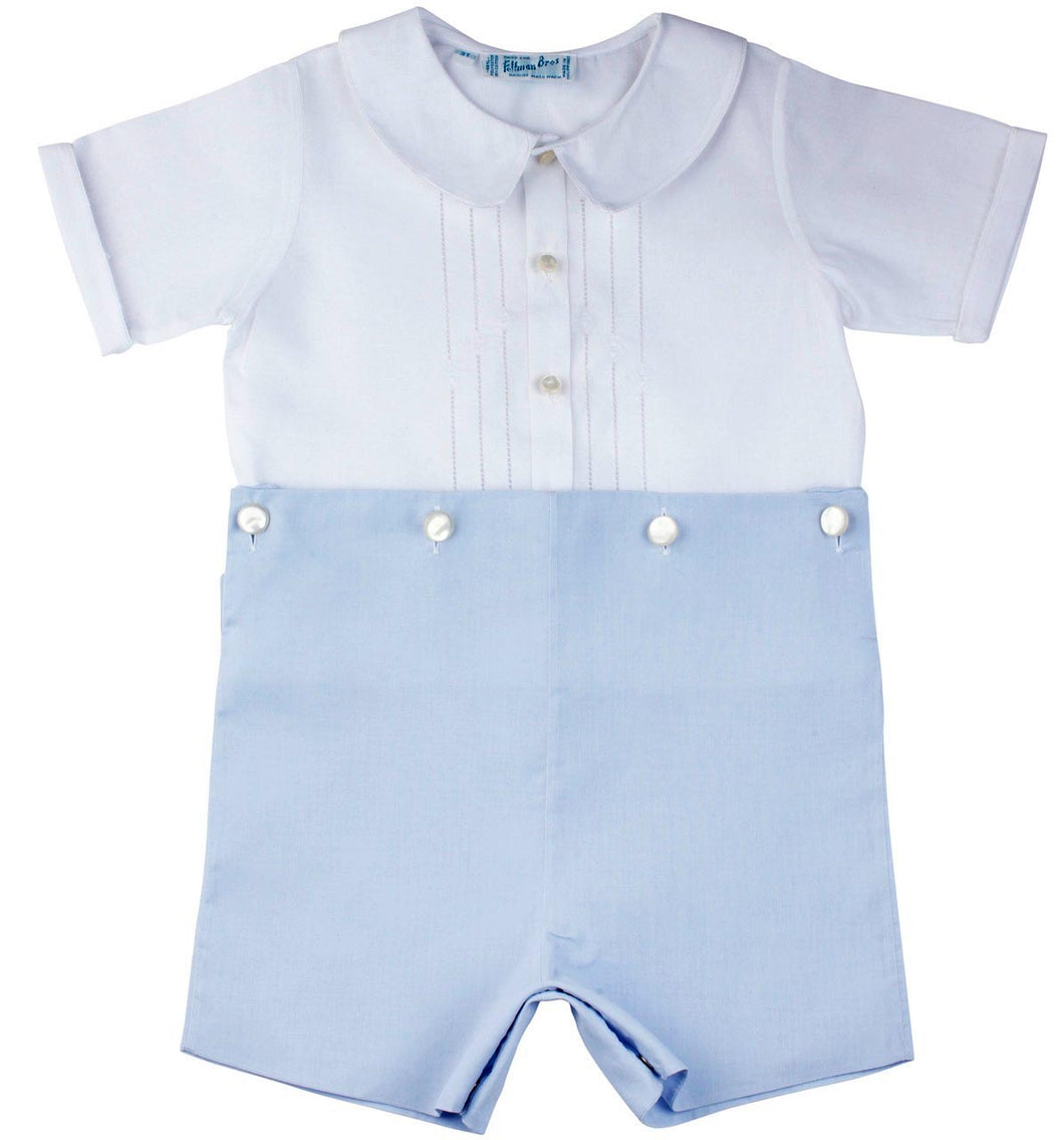 Boys Two Piece White & Blue Short Set