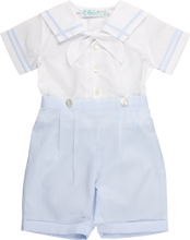 Load image into Gallery viewer, Light Blue & White Boys Sailor Suit