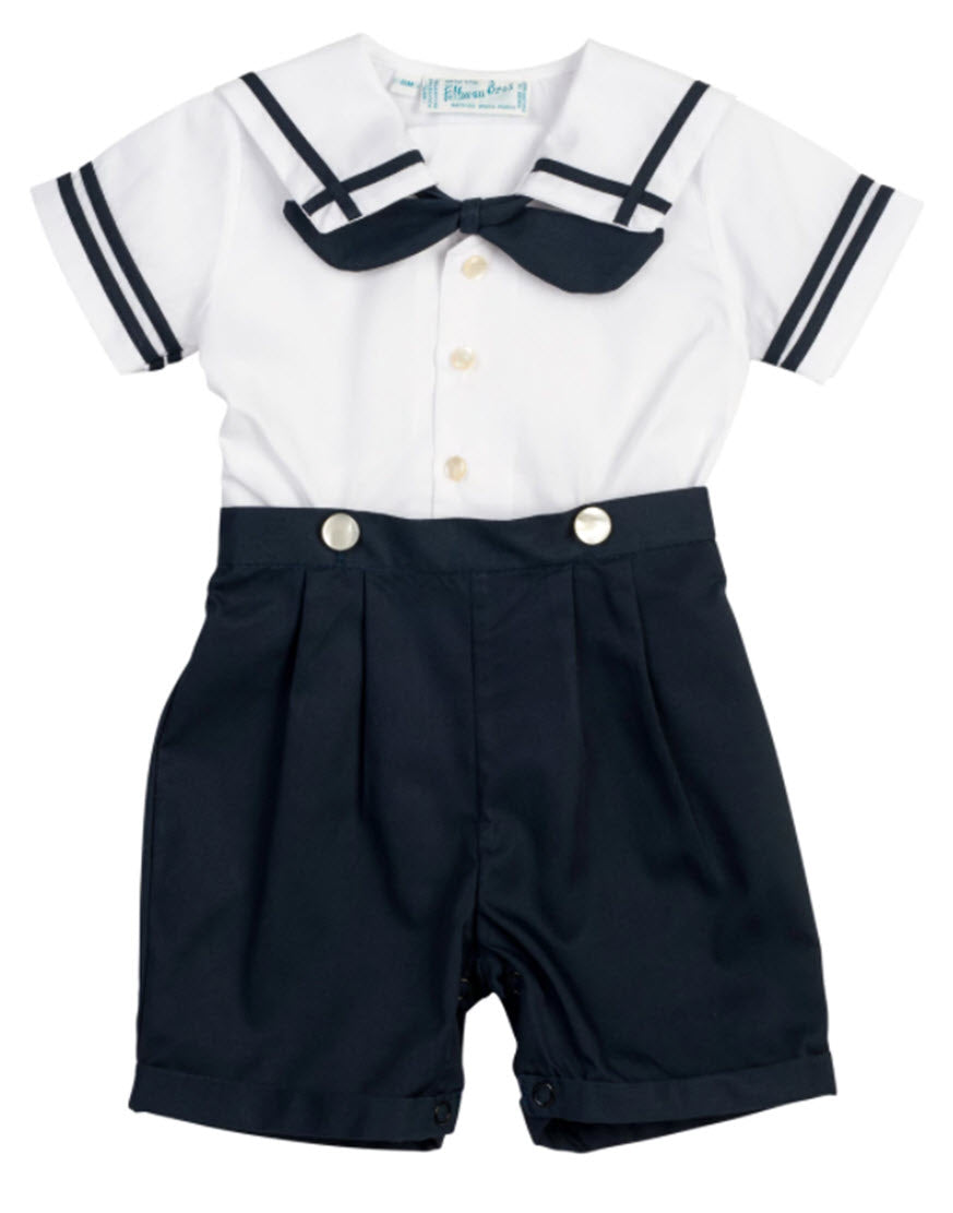 Navy Blue & White Boys Sailor Suit