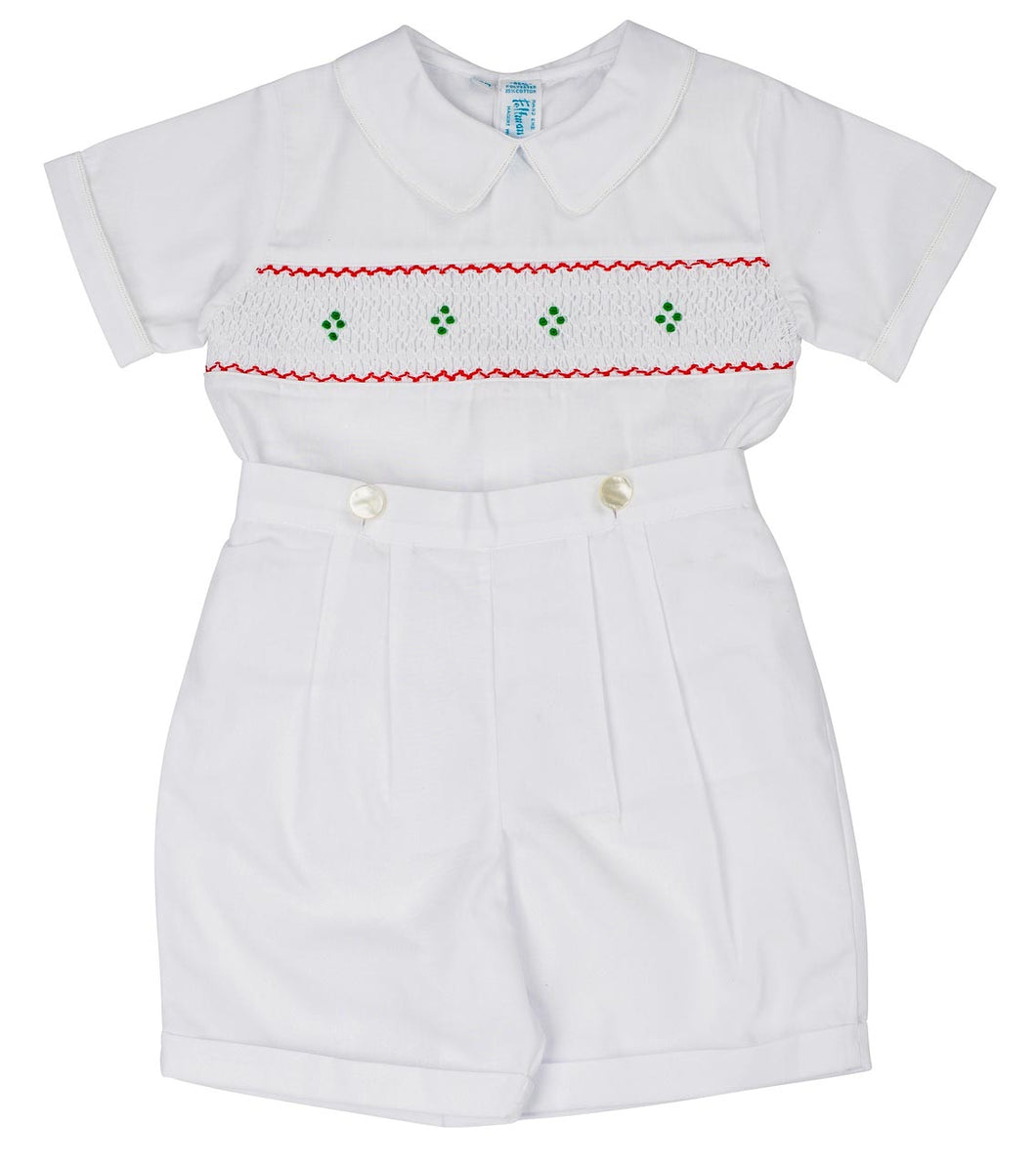 White, Red, & Green, Boys Holiday Smocked Bobby Suit