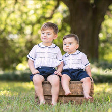 Load image into Gallery viewer, Navy & White Two Piece Smocked Short Set