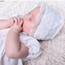 Load image into Gallery viewer, Girls Embroidered & Lace Trimmed Newborn Bonnet