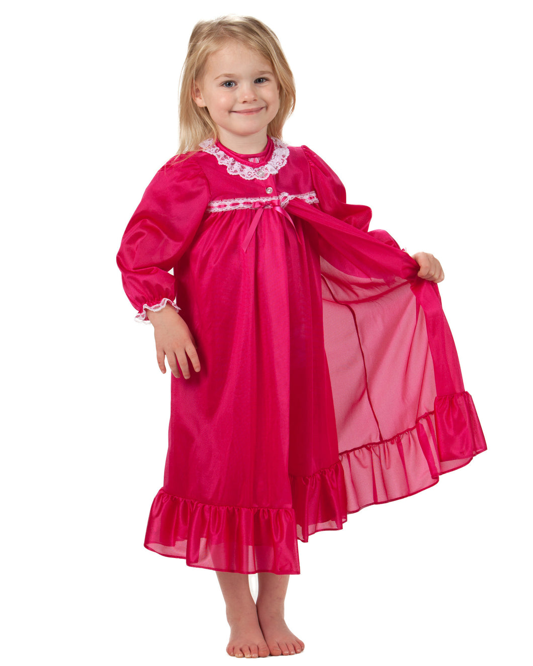 Girls Fuschia Pink Peignoir Set