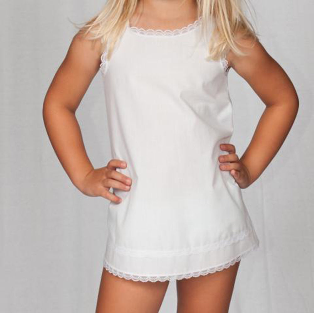 Girls White Batiste Simple A-Line Slip