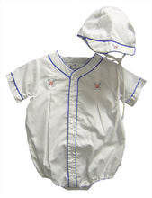Load image into Gallery viewer, White Embroidered Baseball Romper & Cap
