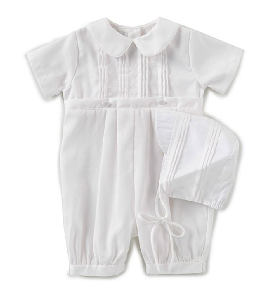 Boys White Tucked Front Romper