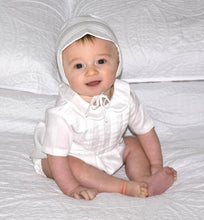 Load image into Gallery viewer, Boys White Tucked Front Romper