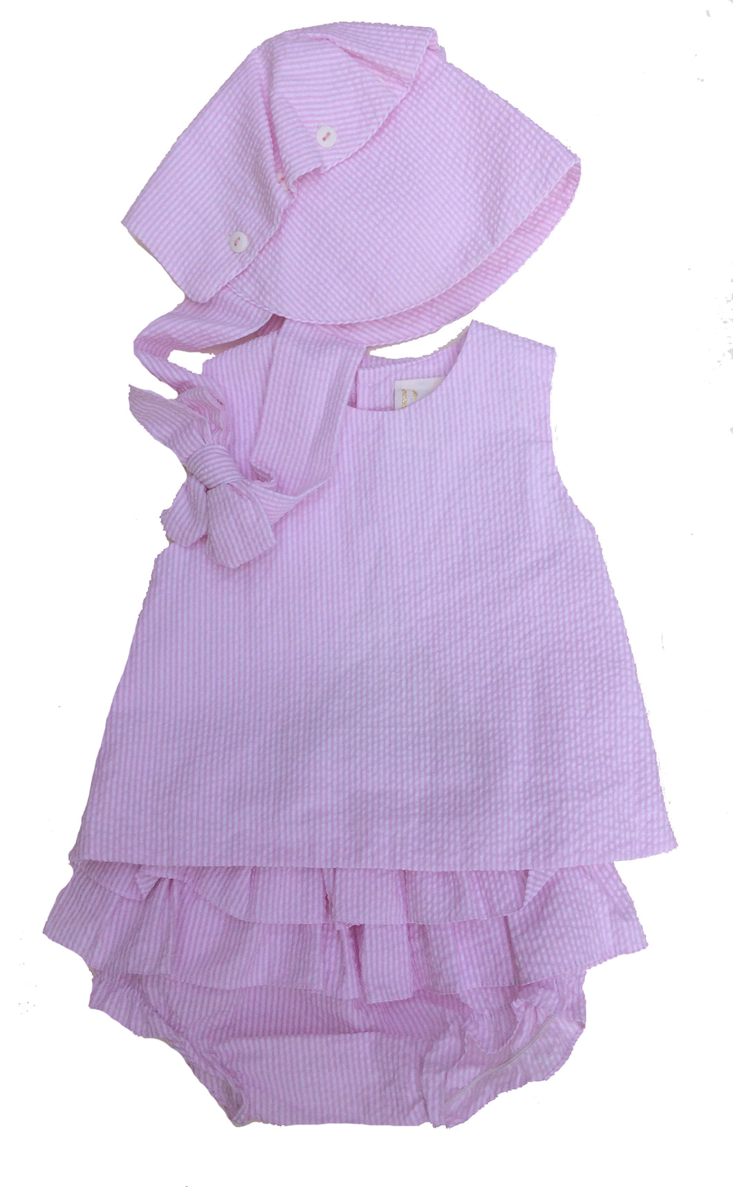 Pink & White Striped Seersucker Popover Set with Bonnet