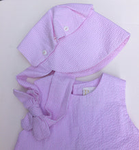 Load image into Gallery viewer, Pink & White Striped Seersucker Popover Set with Bonnet