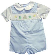 Load image into Gallery viewer, Baby Blue Smocked Birthday Shortall
