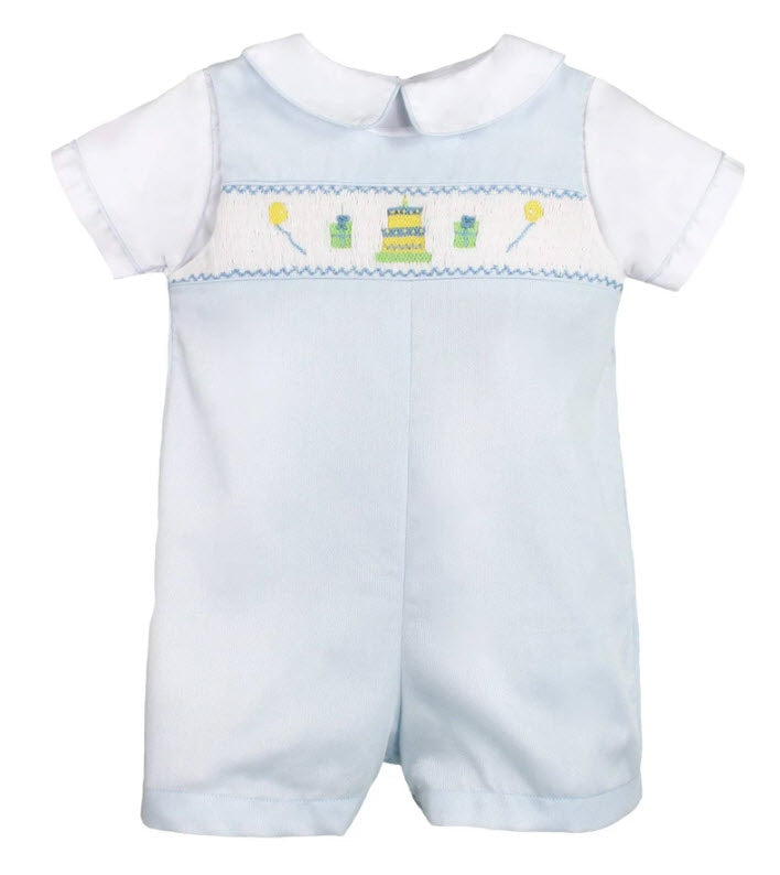Baby Blue Smocked Birthday Shortall