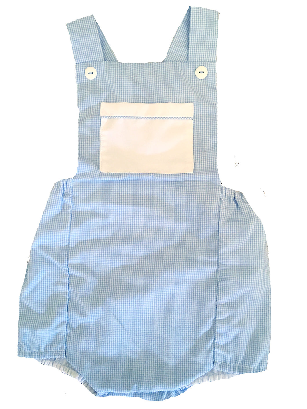Blue & White Gingham Check Boys Sunsuit