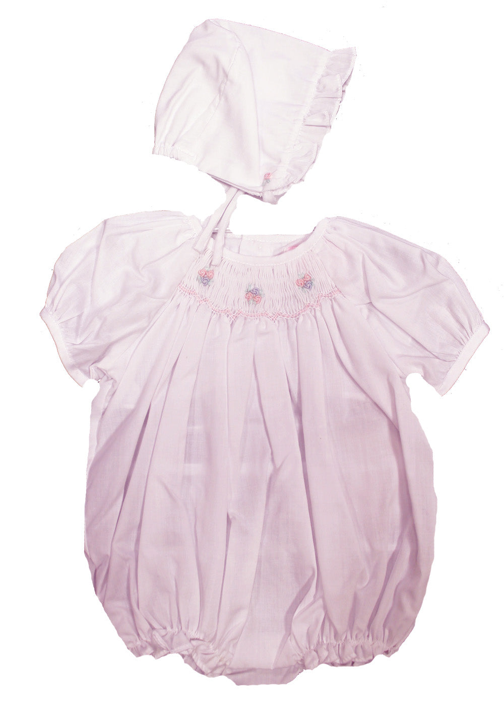 Pink Smocked Bubble & Bonnet